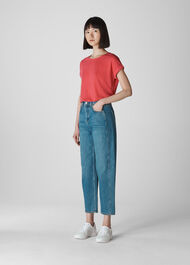 Relaxed Linen Tee Coral