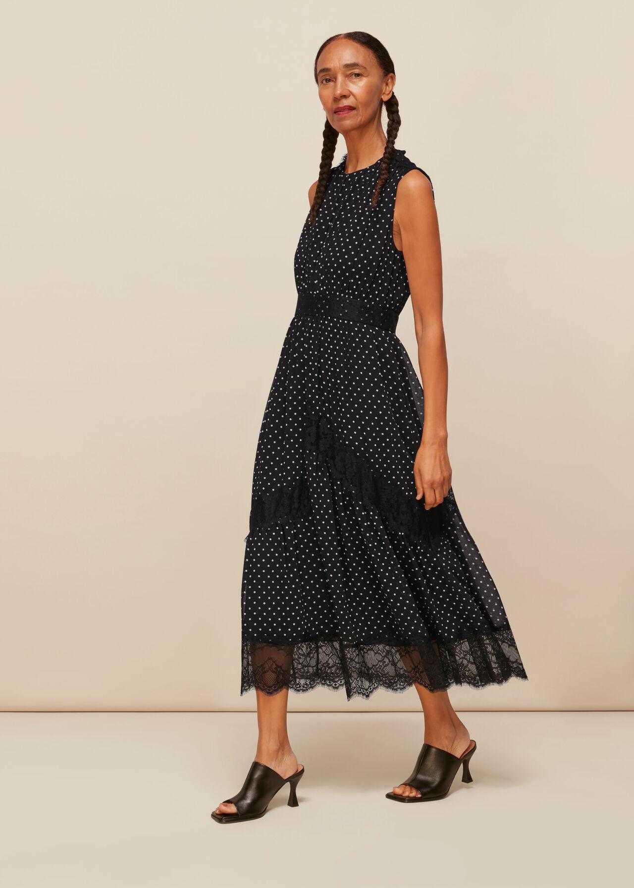 Spot Lace Midi Dress