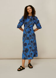 Trailing Seedpod Silk Dress Blue/Multi