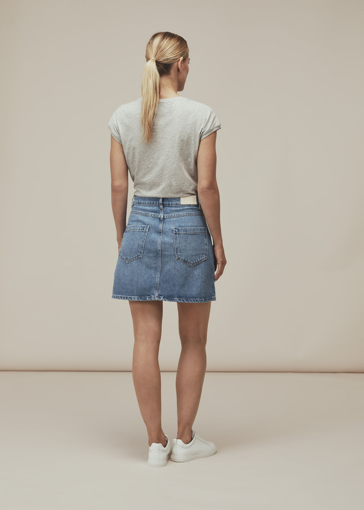 Seam Detail Denim Skirt