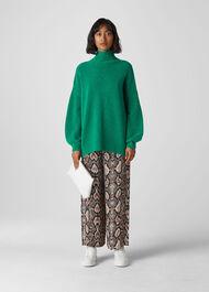 Oversized Funnel Neck Knit Green