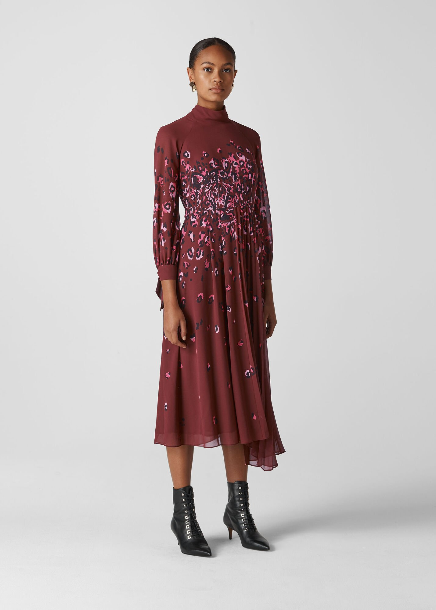 Leo Print Pleated Dress