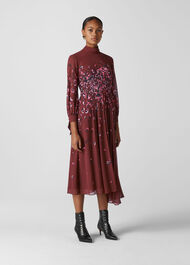 Leo Print Pleated Dress Burgundy