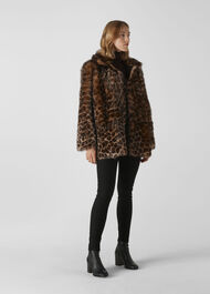 Animal Alba Shearling Coat Leopard Print