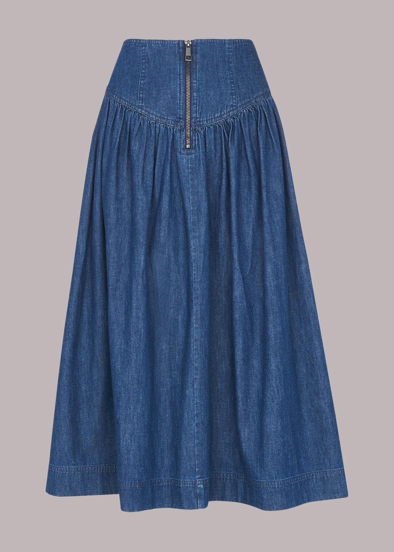 Zip Detail Chambray Midi Skirt