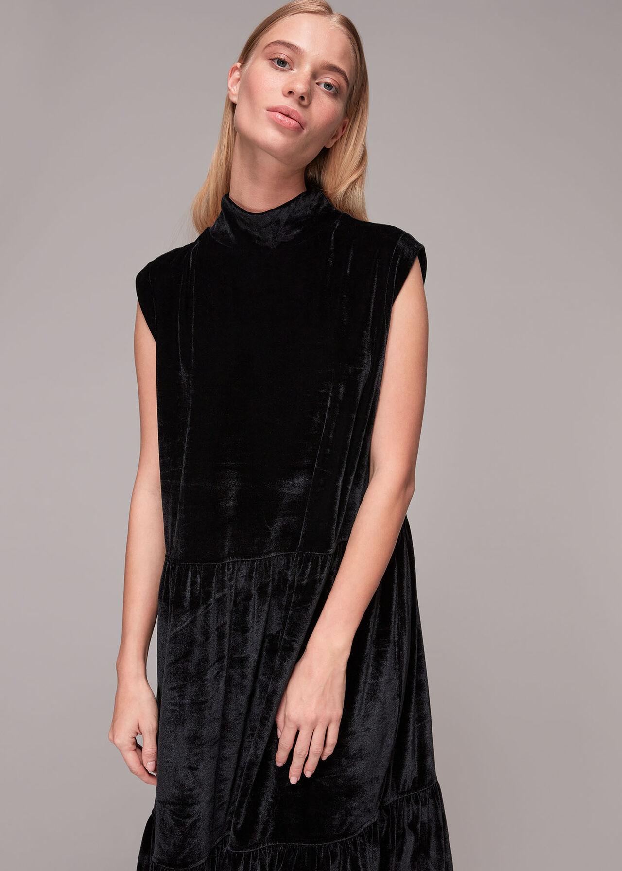 Tiered Jersey Velvet Dress