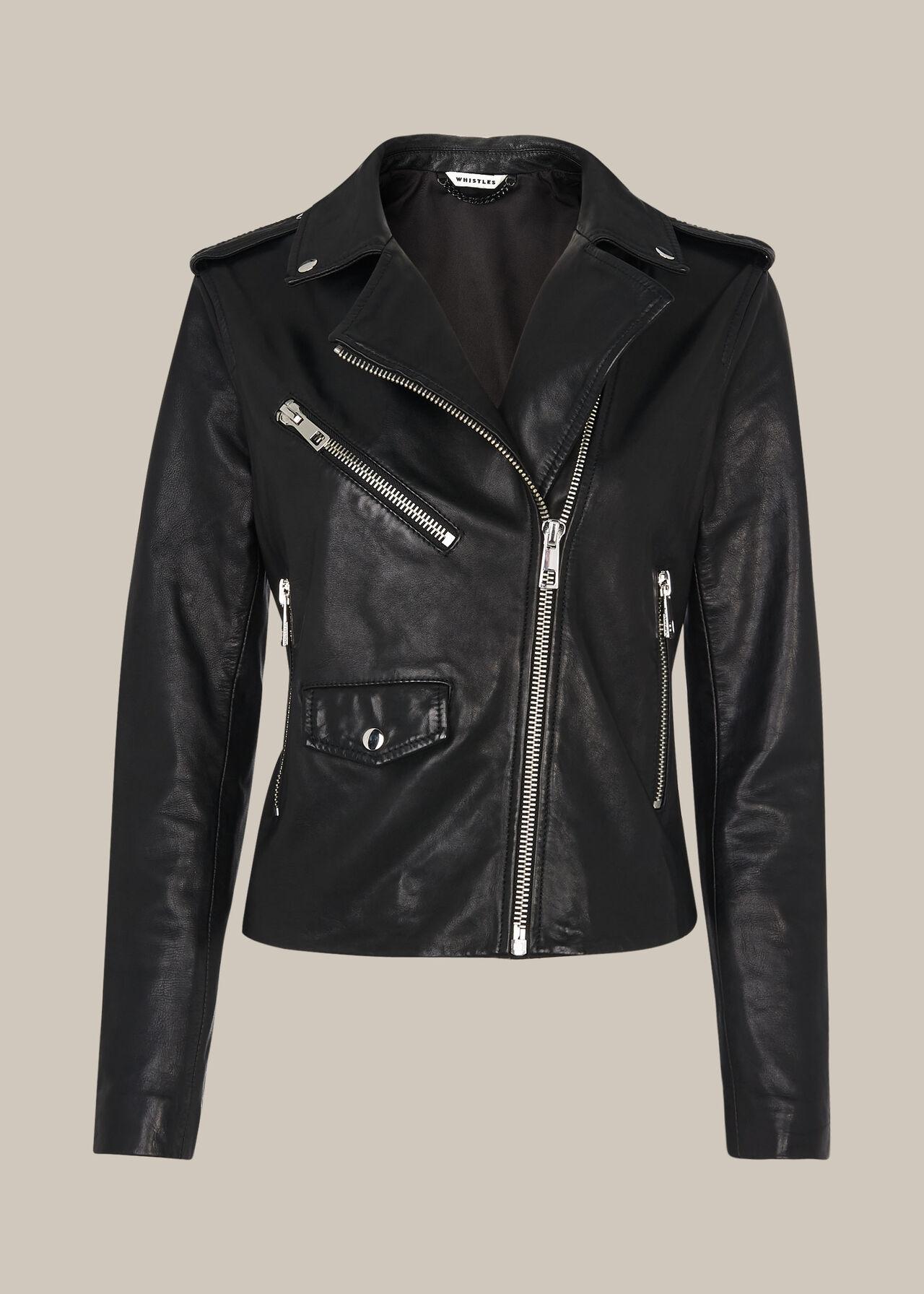 Black Agnes Pocket Leather Jacket | WHISTLES | Whistles