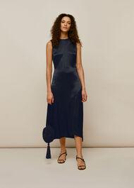 Satin Panelled Midi Dress Navy