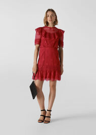 Mariah Lace Ruffle Dress Red