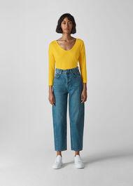 Cotton Scoop Neck Top Yellow