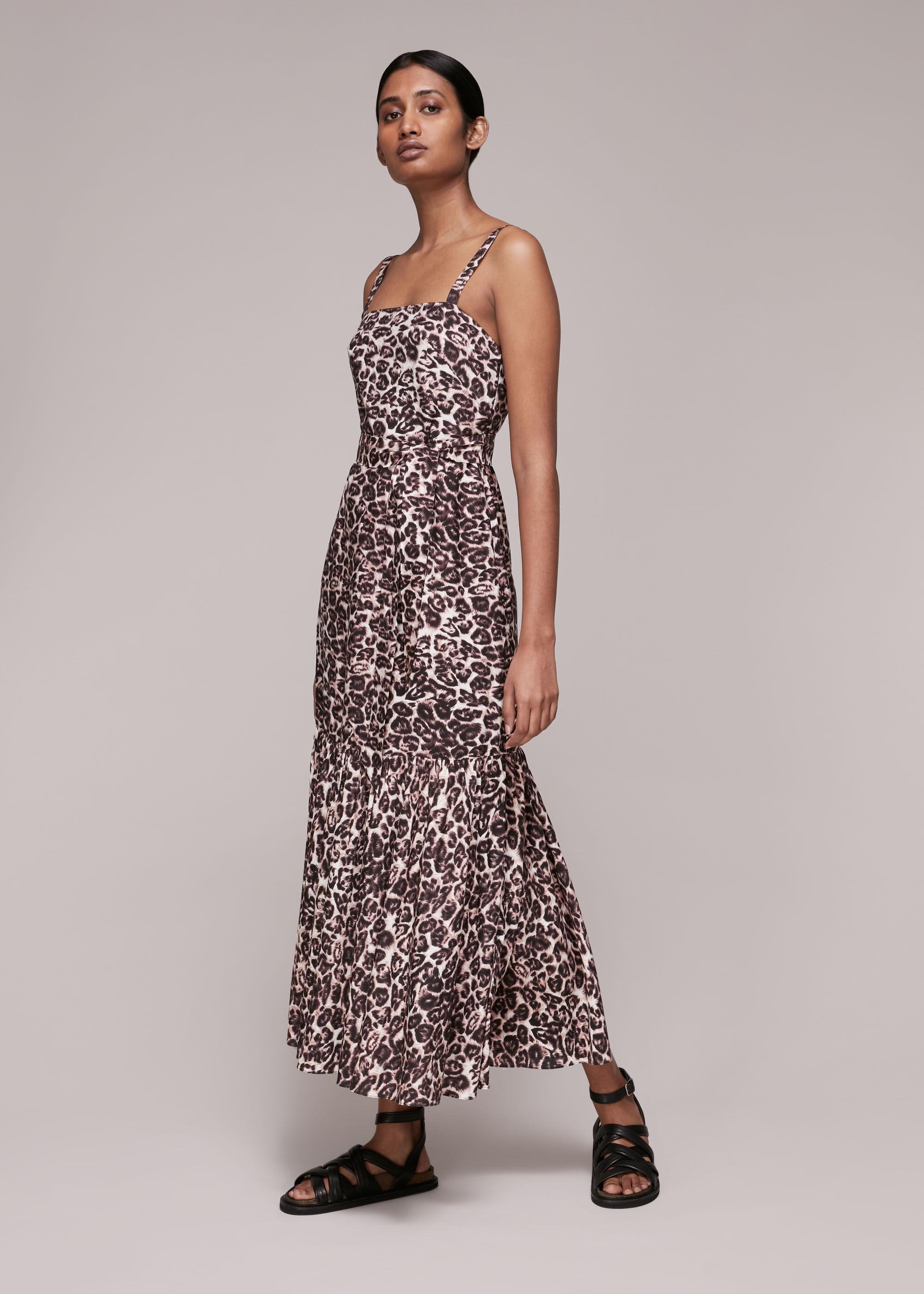 Whistles Women Eleta Leopard Silk Mix Dress