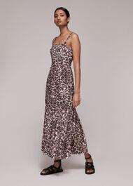 Eleta Leopard Silk Mix Dress