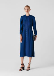 Eloise Textured Dress Dark Blue