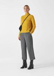 Rib Funnel Neck Wool Knit Yellow