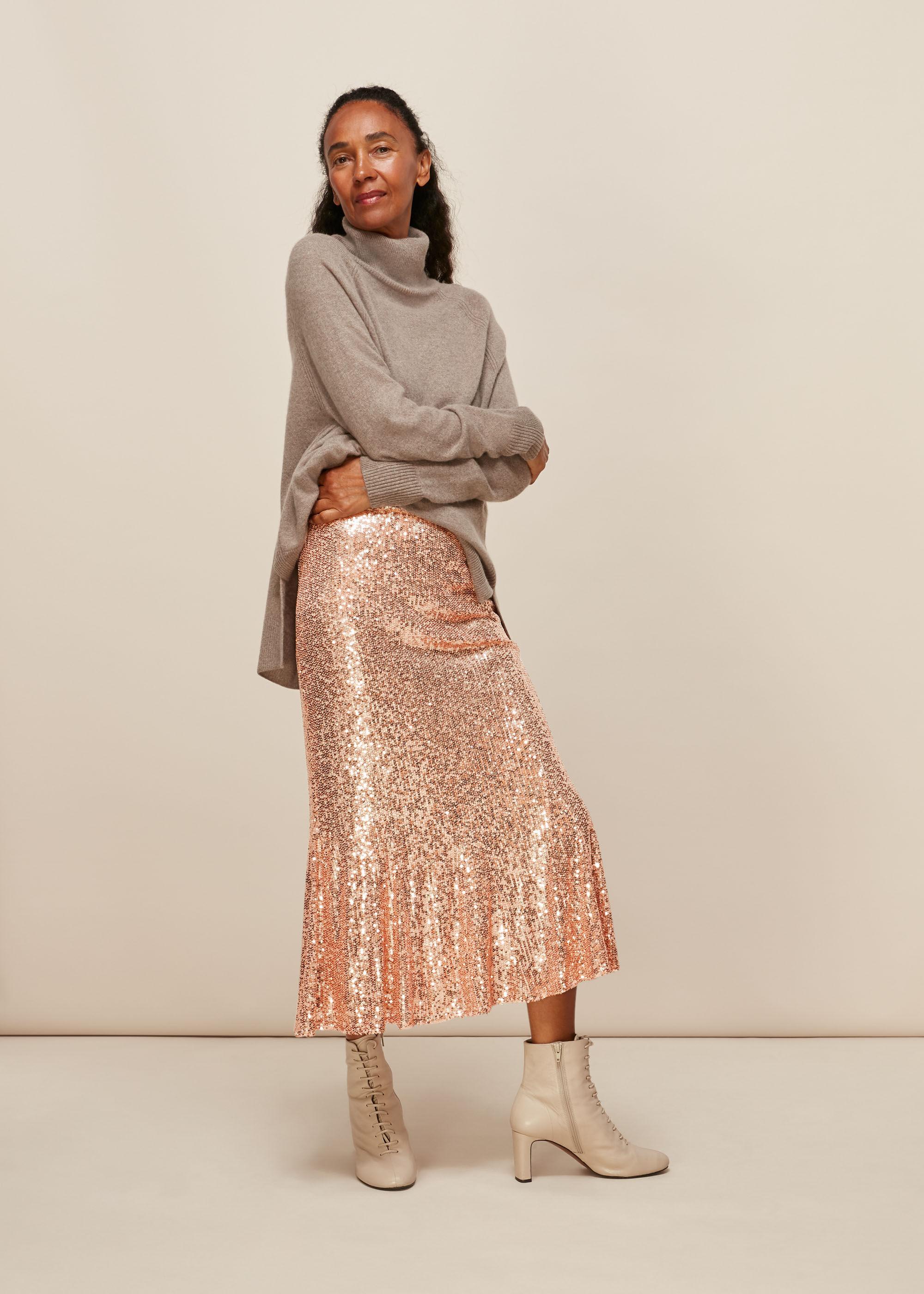 Whistles Women Sequin Midi Skirt