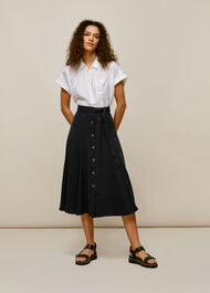 Marissa Button Through Skirt Black