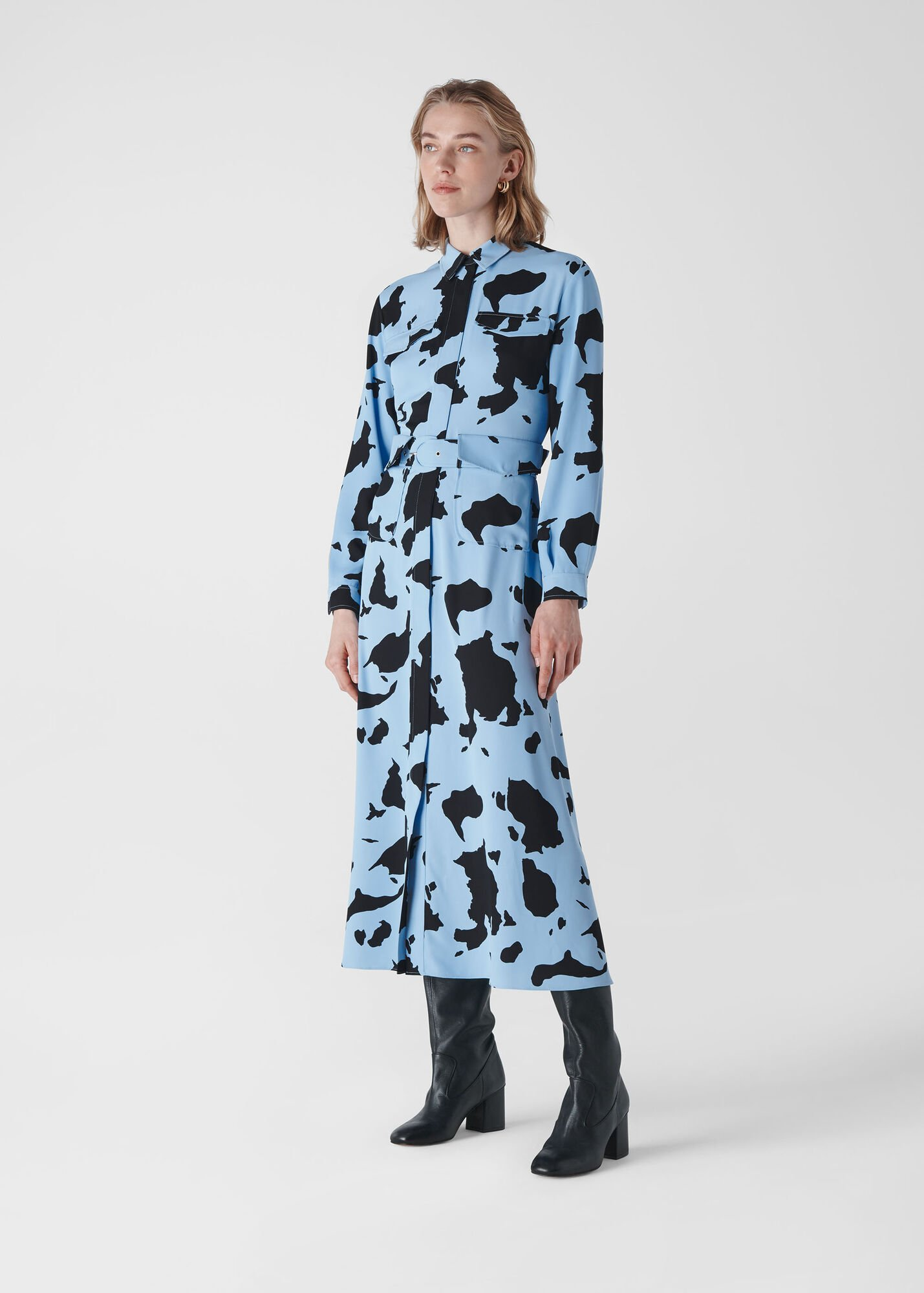 Cow Print Military Dress