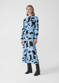 Cow Print Military Dress Blue/Multi