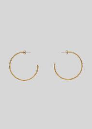 Seed Bead Large Hoop Earring Gold
