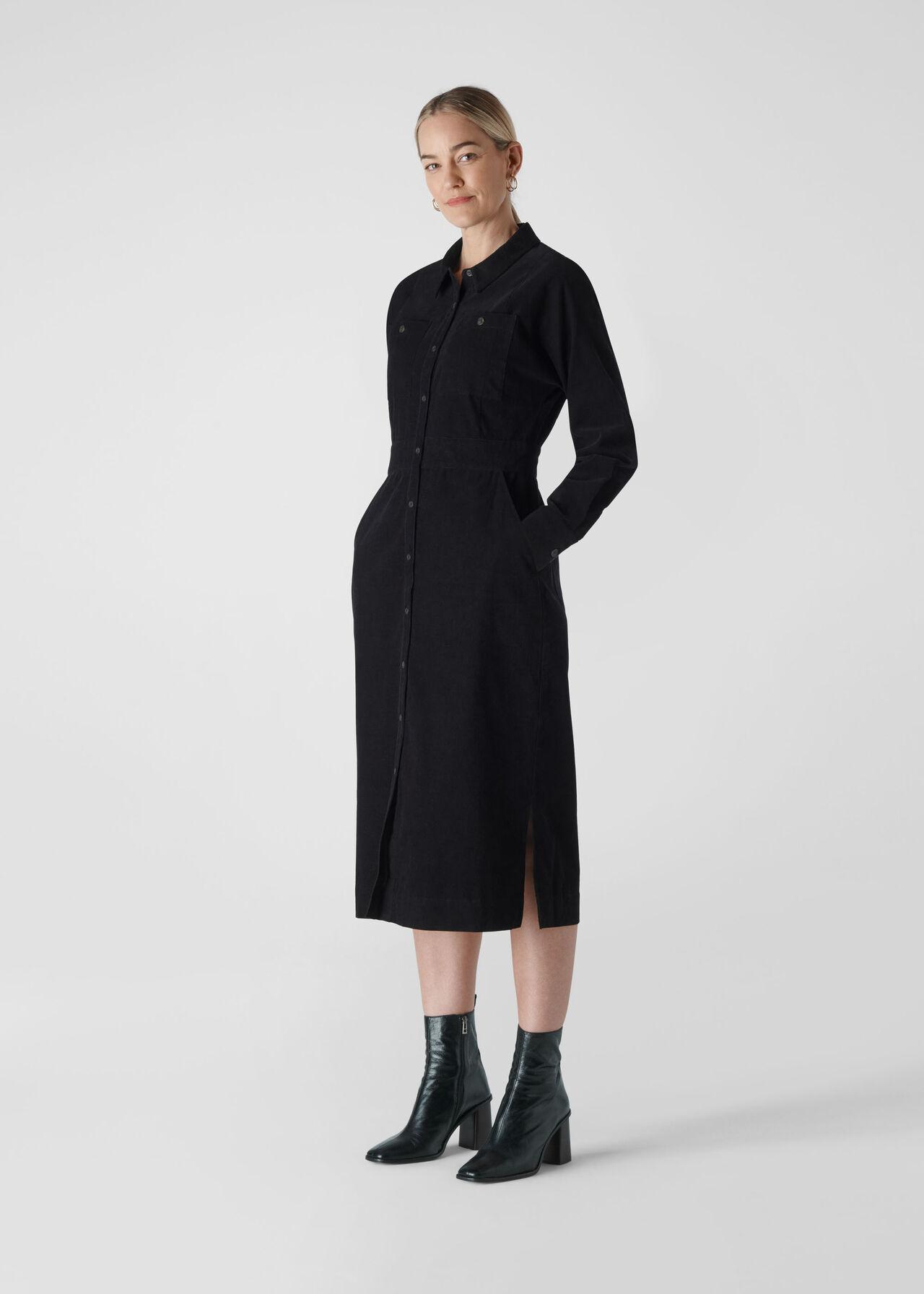 Romaine Cord Dress Black