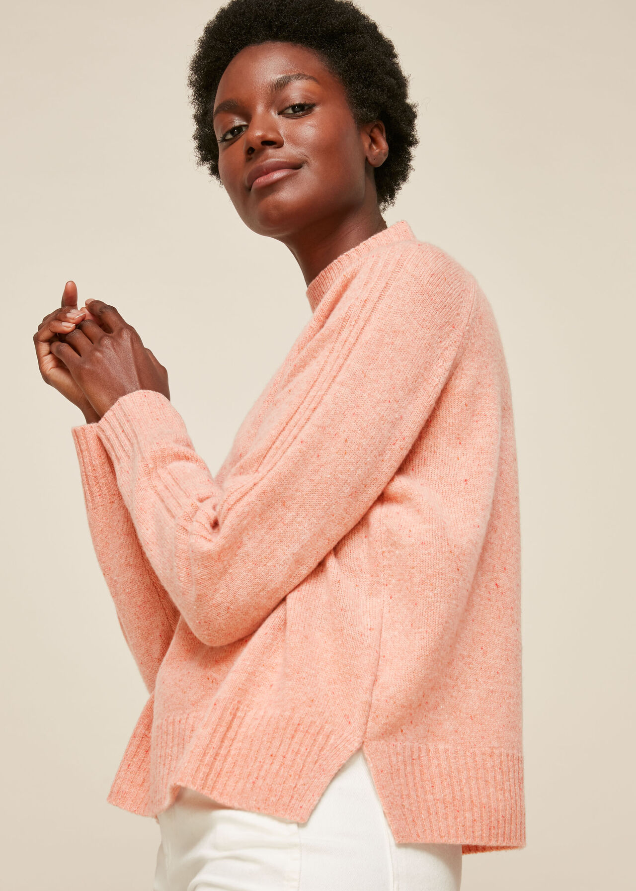 Funnel Neck Flecked Knit