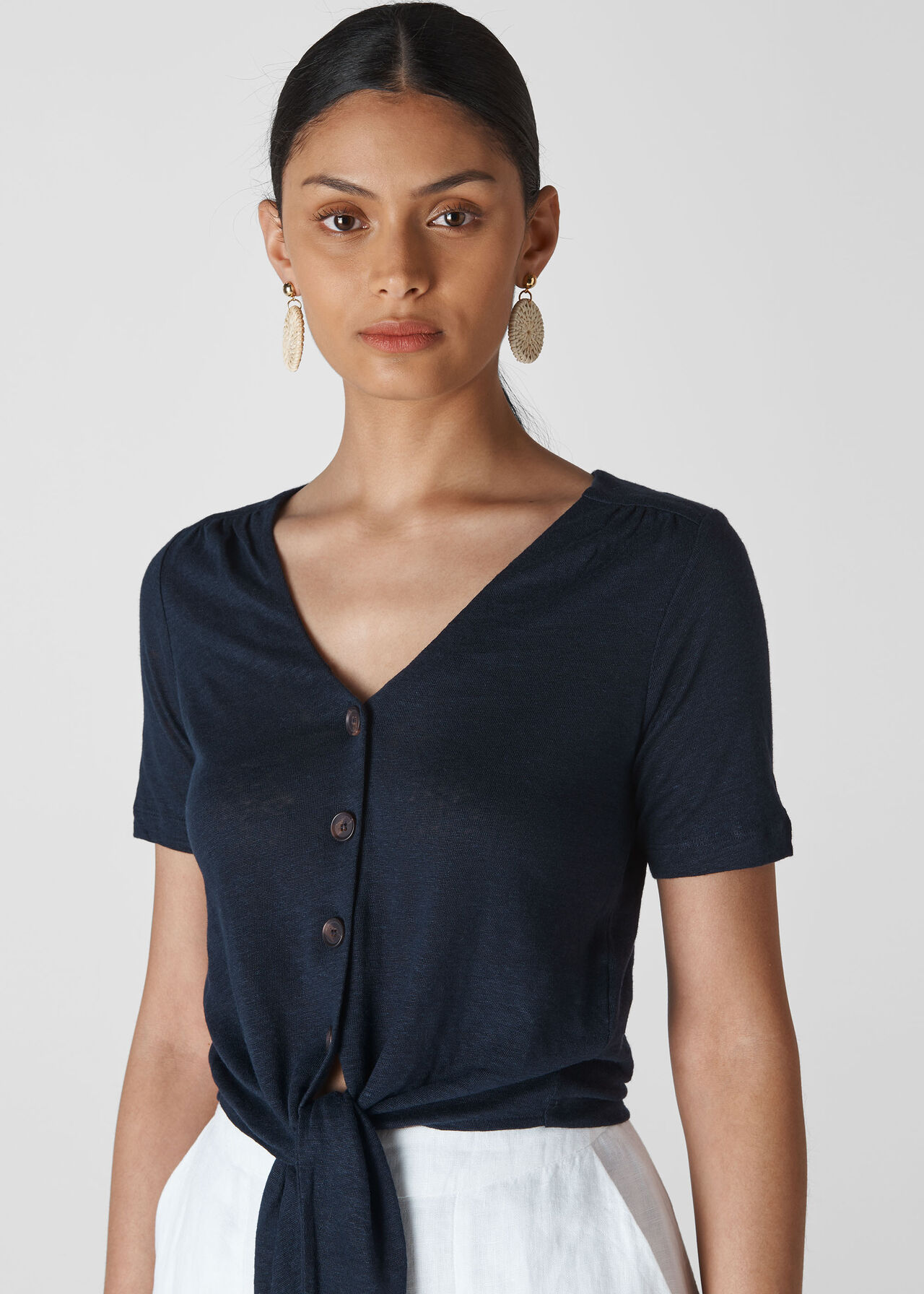 Linen Button Front Tie Top Navy