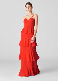 Anette Dobby Tiered Maxi Dress Red