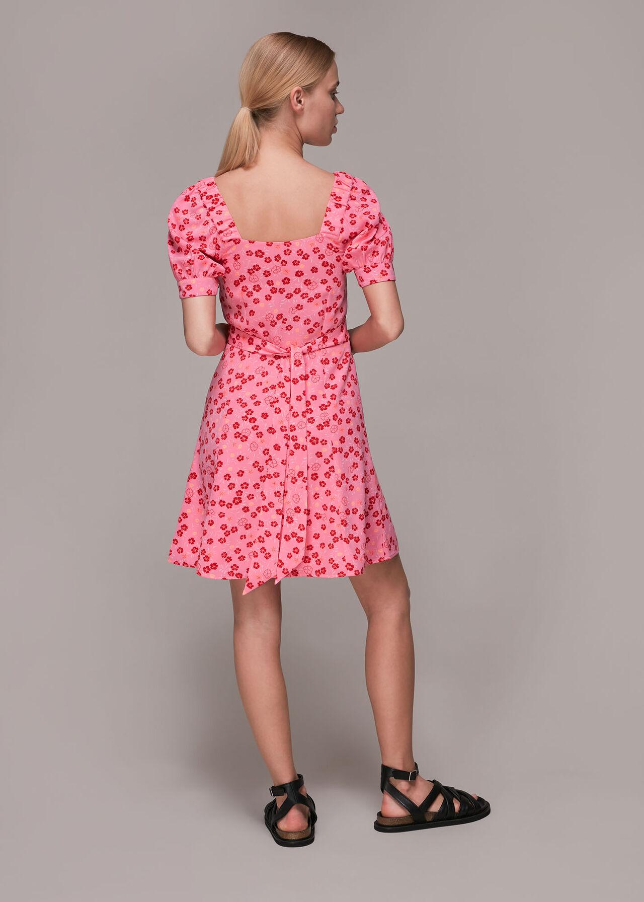 Cherry Floral Tie Waist Dress