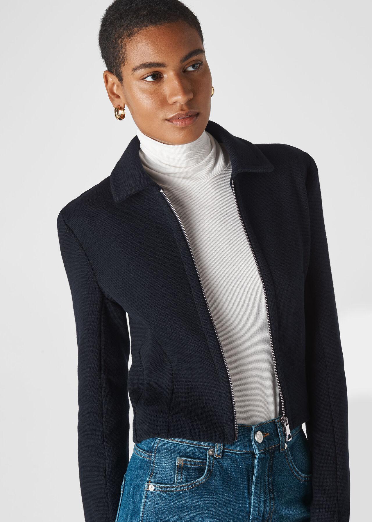 Zip Front Jersey jacket Navy