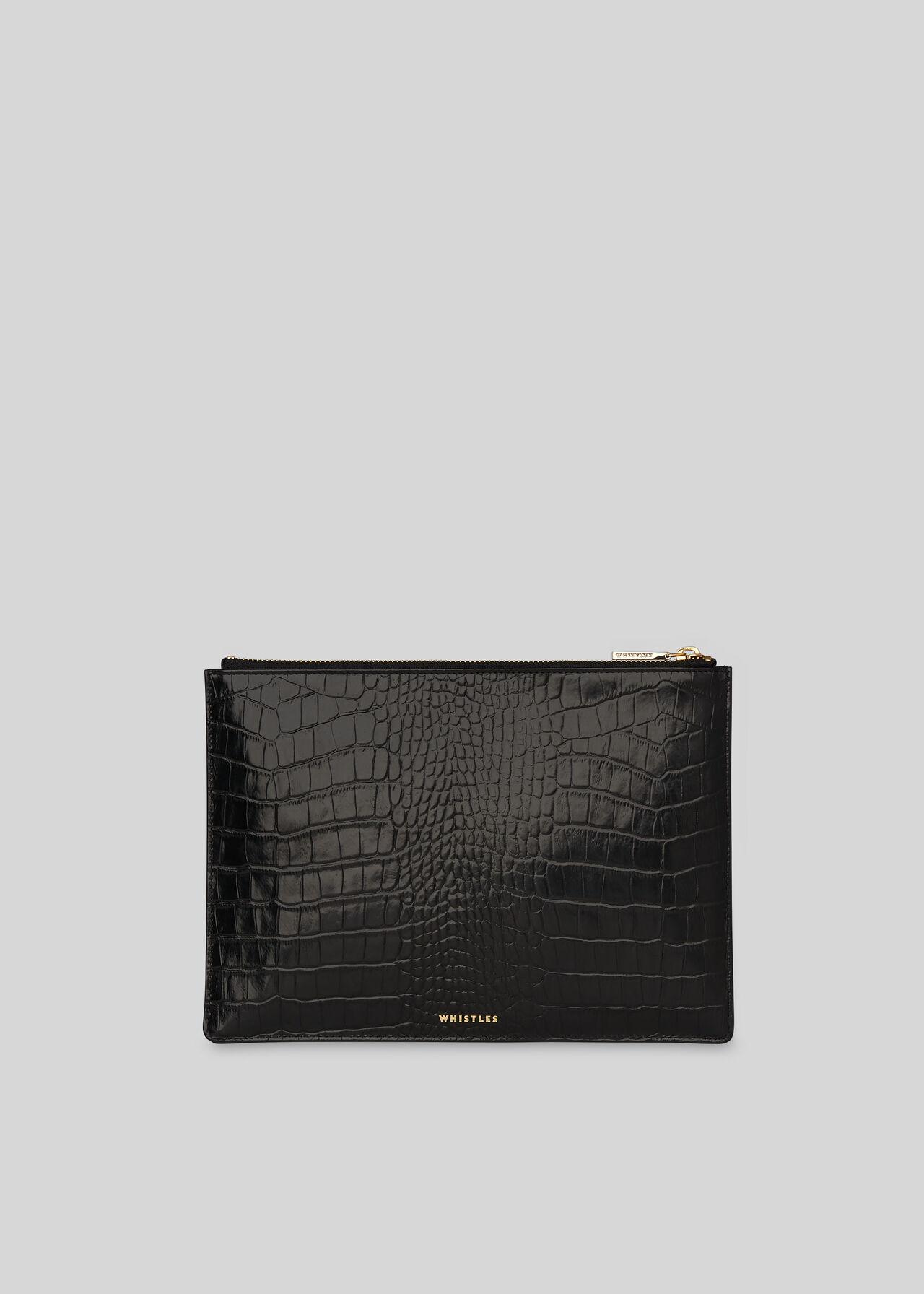 Shiny Croc Medium Clutch Black