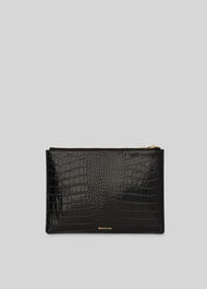 Shiny Croc Medium Clutch Black
