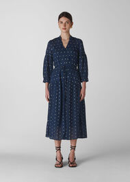 Valeria Embroidered Dress Navy/Multi