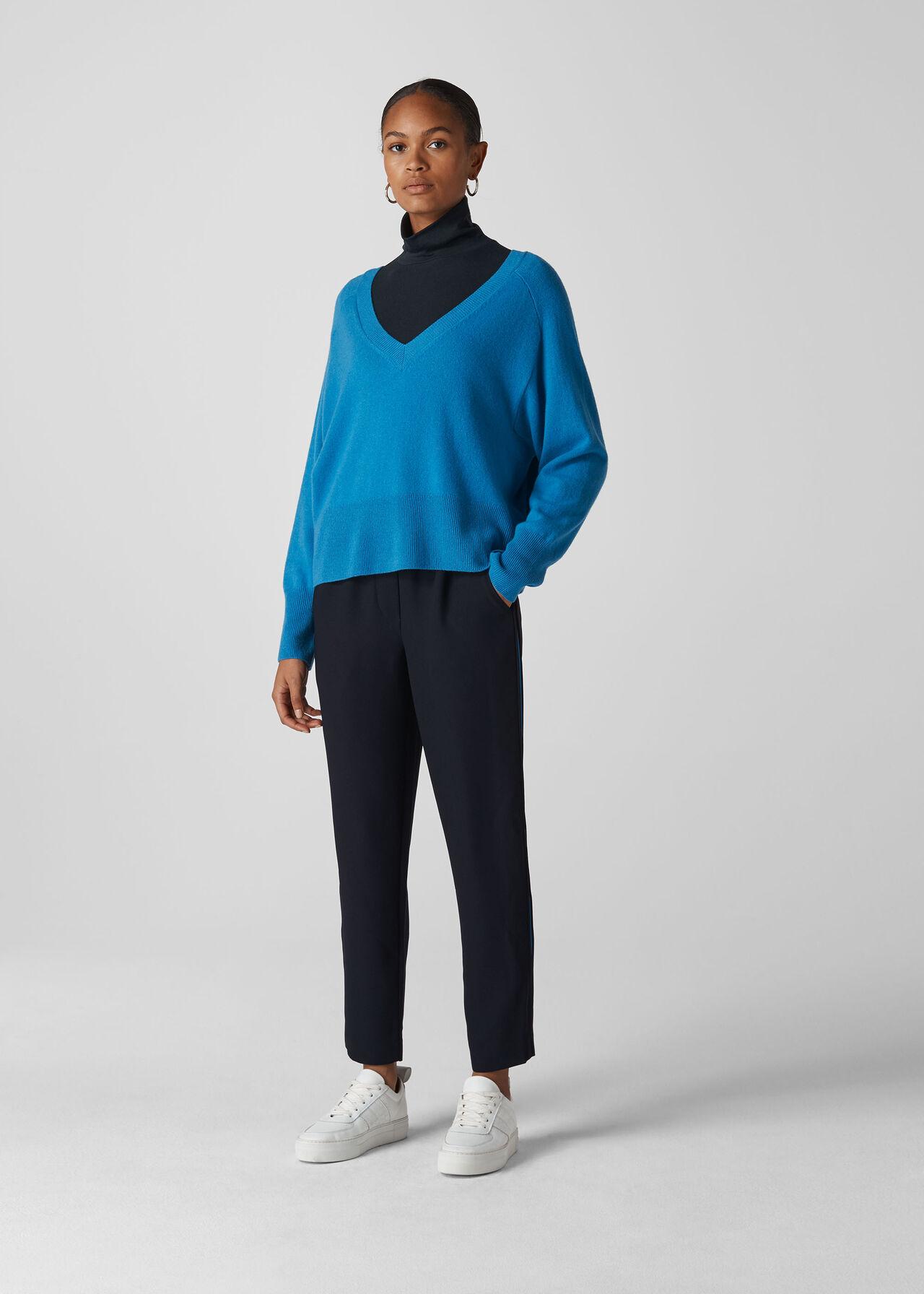 Elyse Side Stripe Trouser Navy/Multi