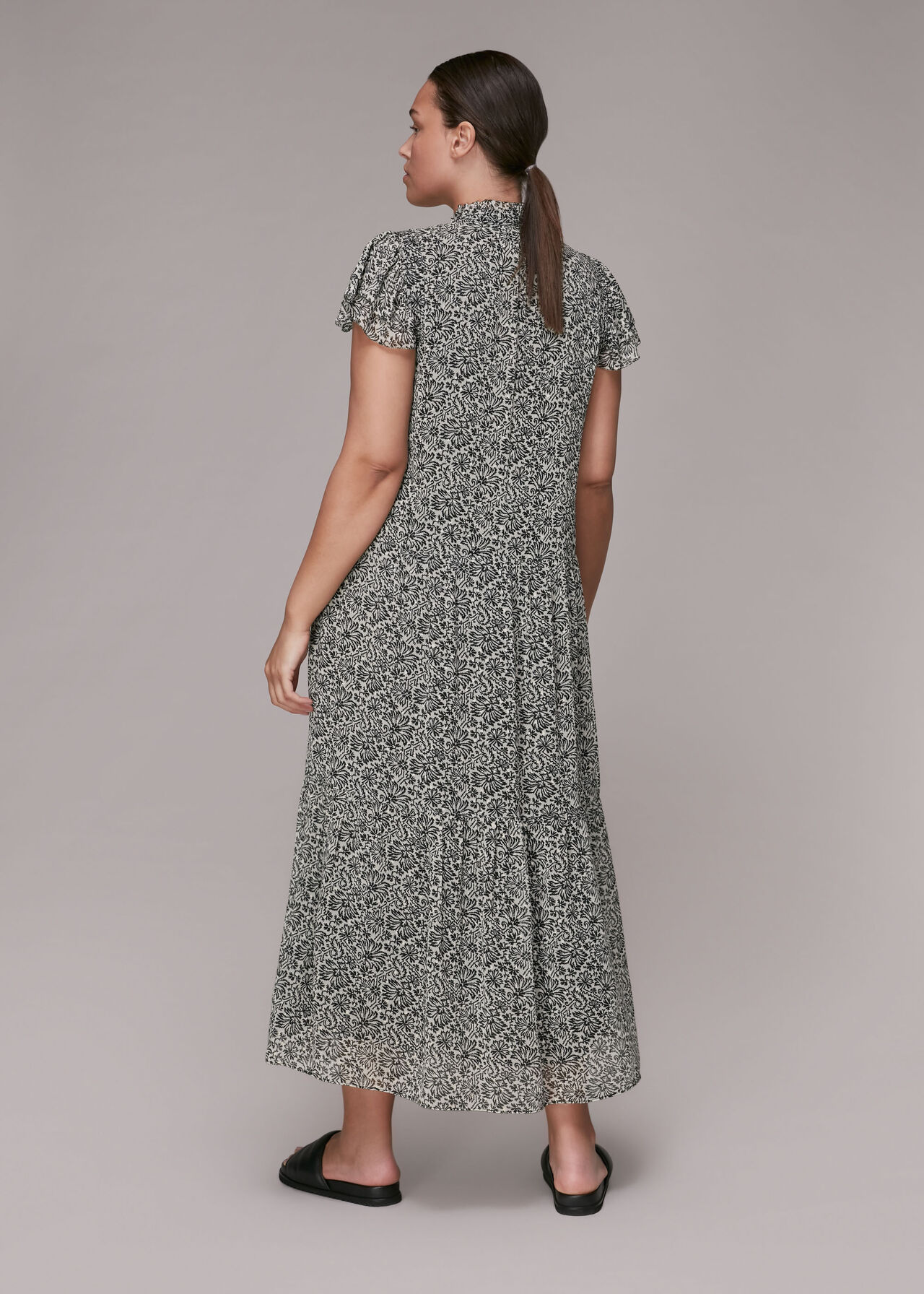 Indo Floral Print Tiered Dress