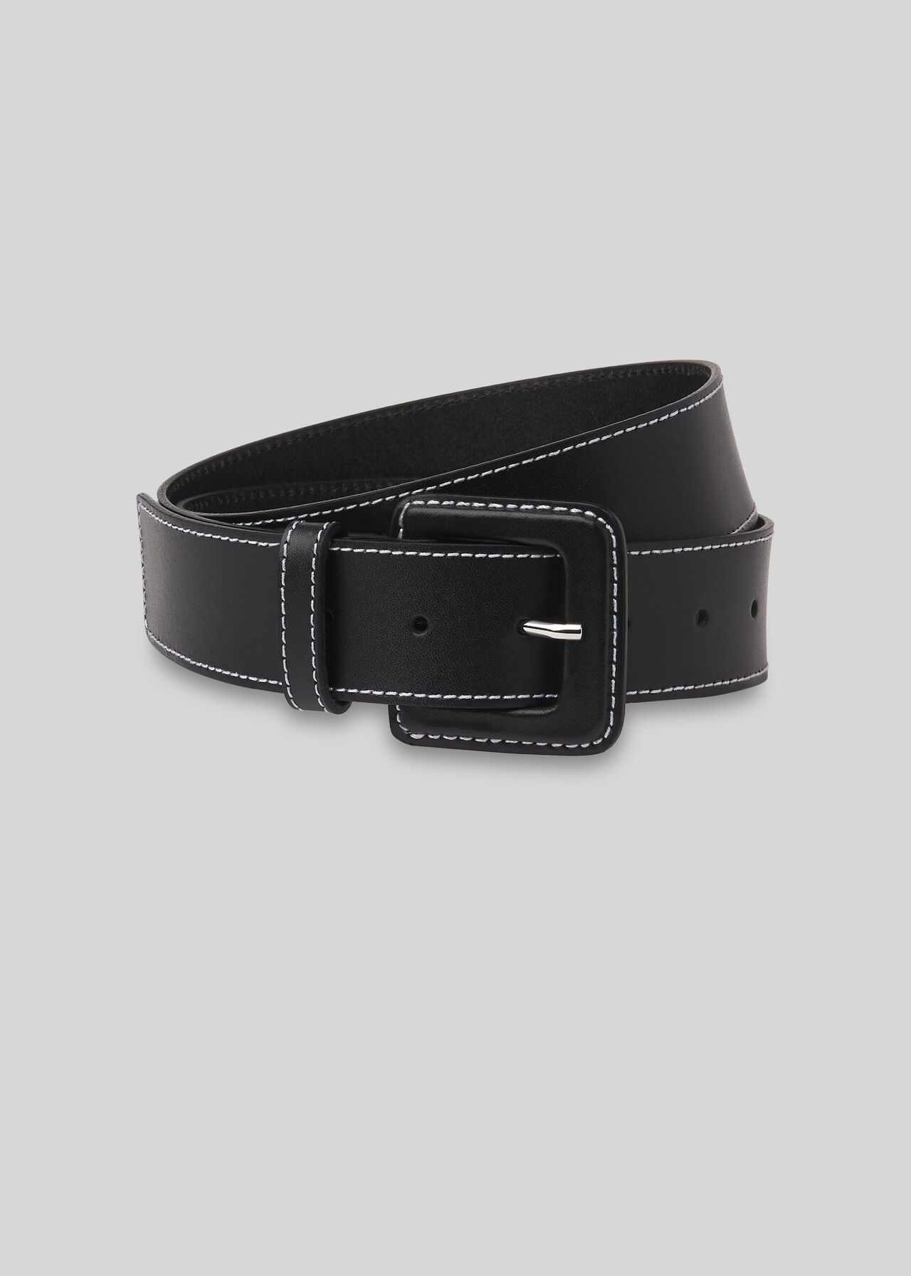 Contrast Stitch Belt Black