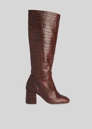 Hazel Croc Knee High Boot Brown