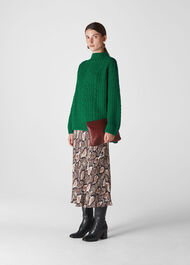 Oversized Chunky Cable Sweater Green
