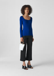 Square Neck Silk Mix Rib Knit Blue