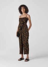 Aster Floral Textured Jumpsuit Black/Multi