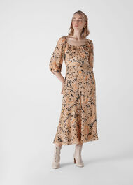 Leopard Print Silk Dress Multicolour