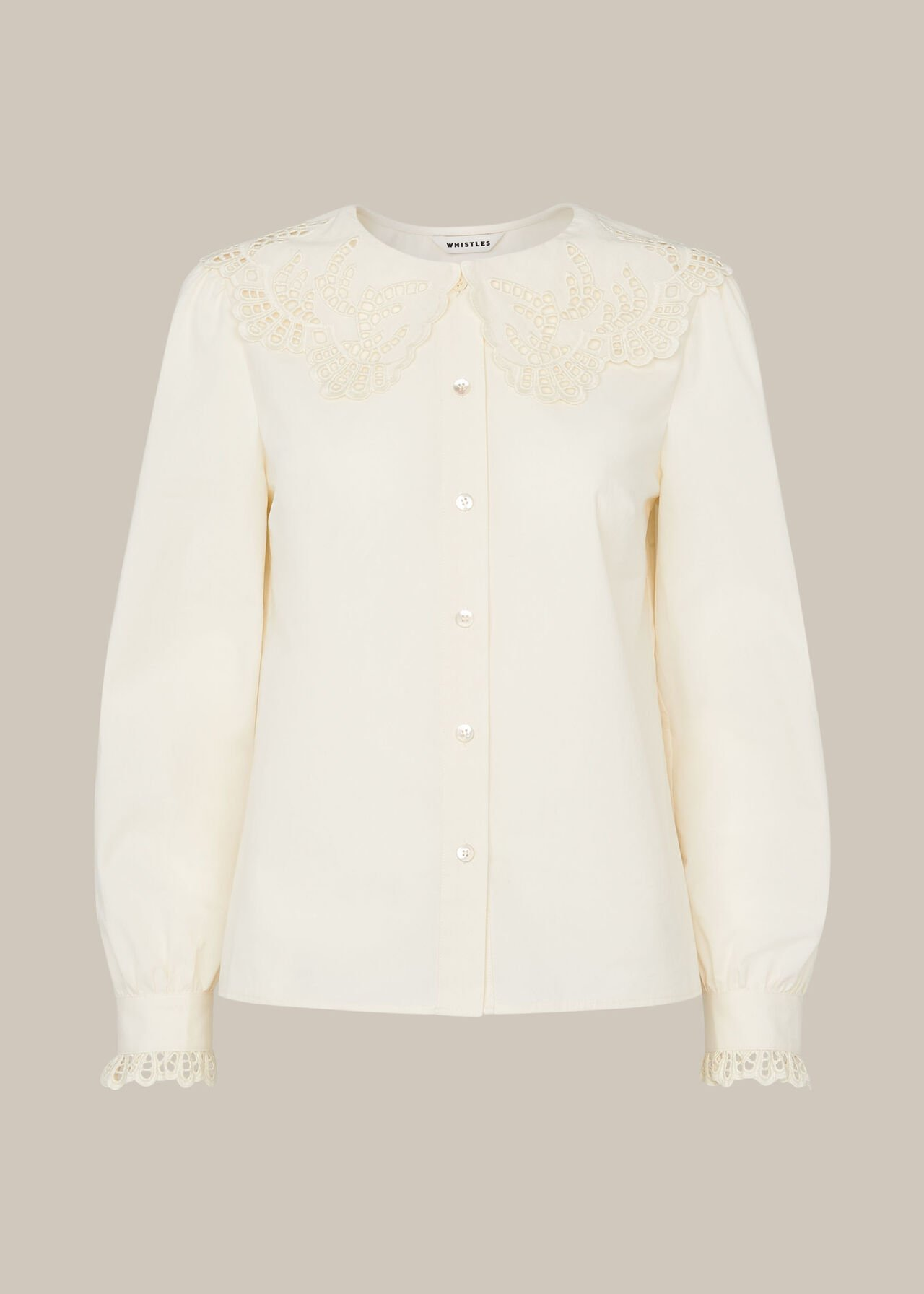 Lace Collared Cotton Blouse