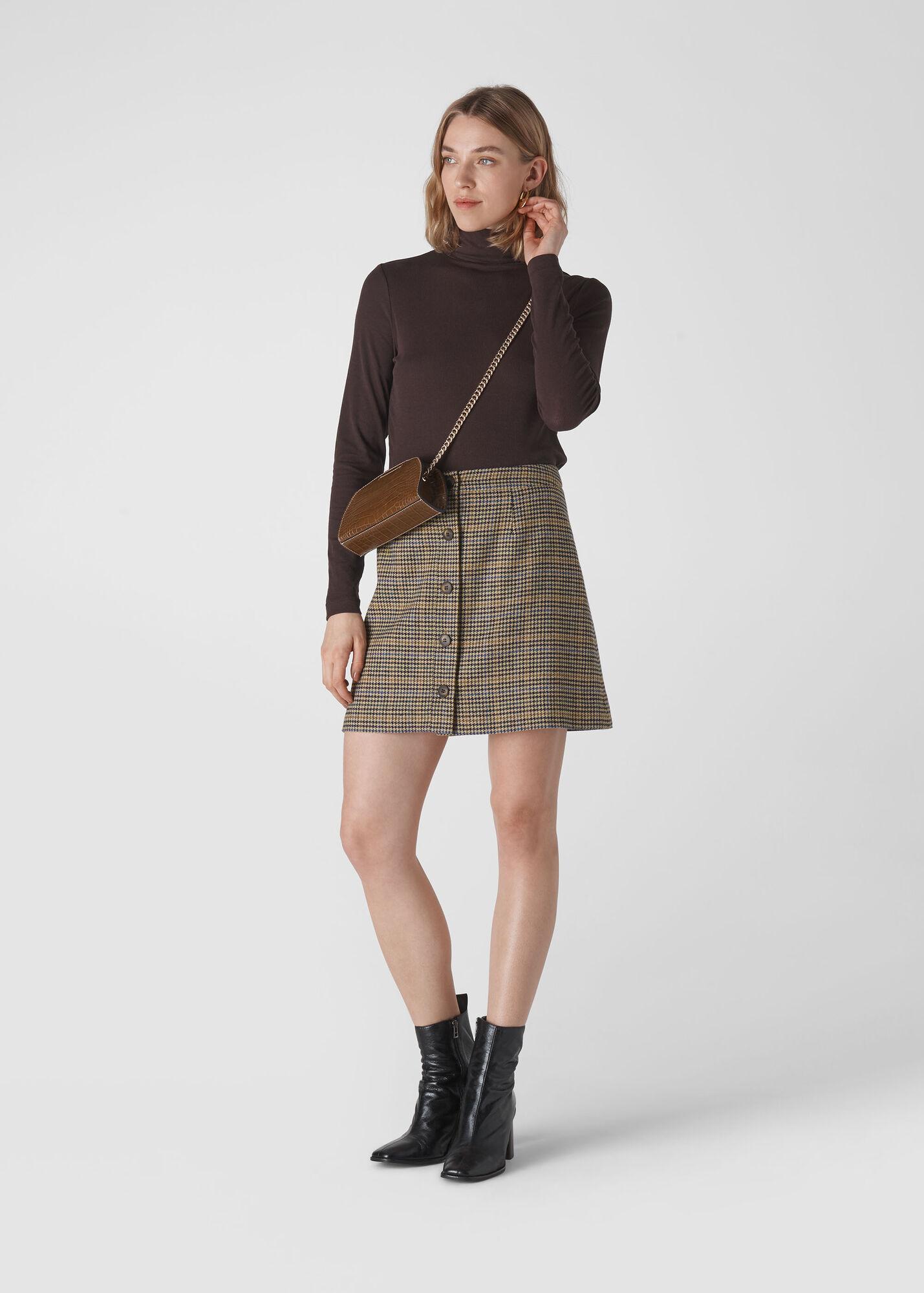 Houndstooth Button Aline Skirt