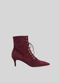 Celeste Kitten Heel Boot Burgundy