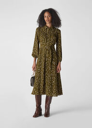 Shadow Spot Print Shirt Dress Khaki