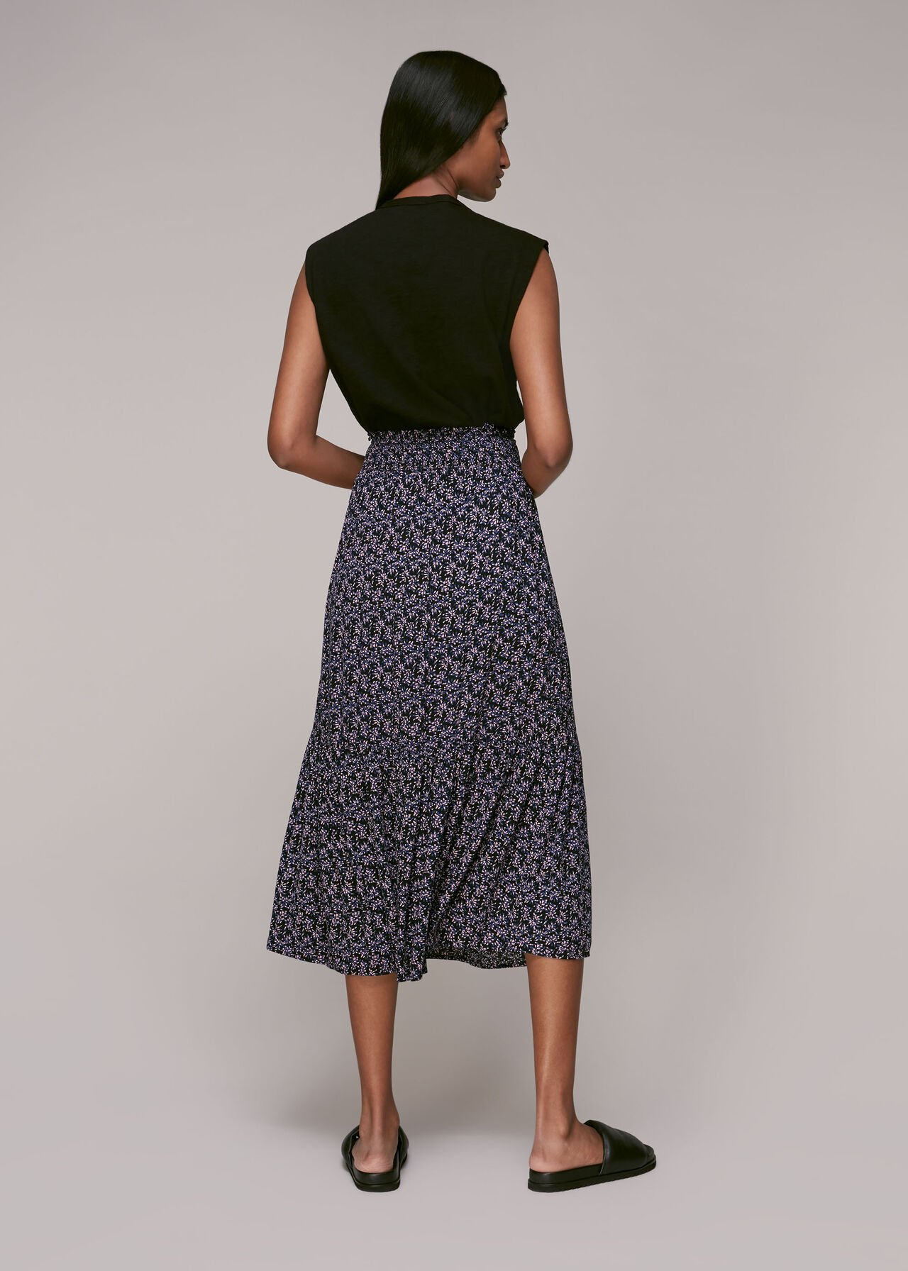 Kinetic Print Tie Front Skirt Multicolour