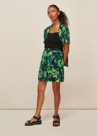 Tulip Print Button Skirt Multicolour