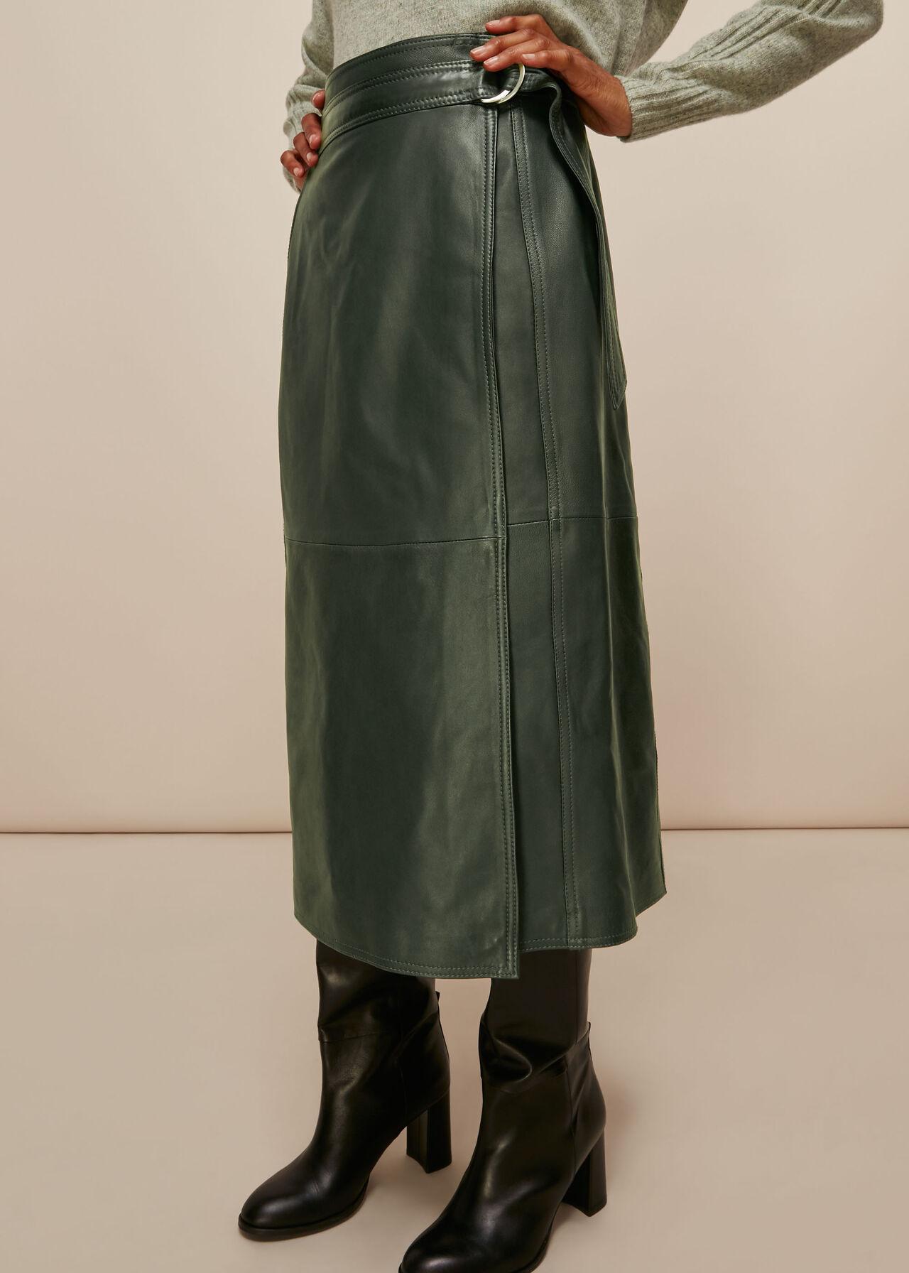 Selina Leather Wrap Skirt