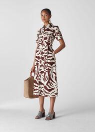 Graphic Zebra Shirt Dress Brown/Multi