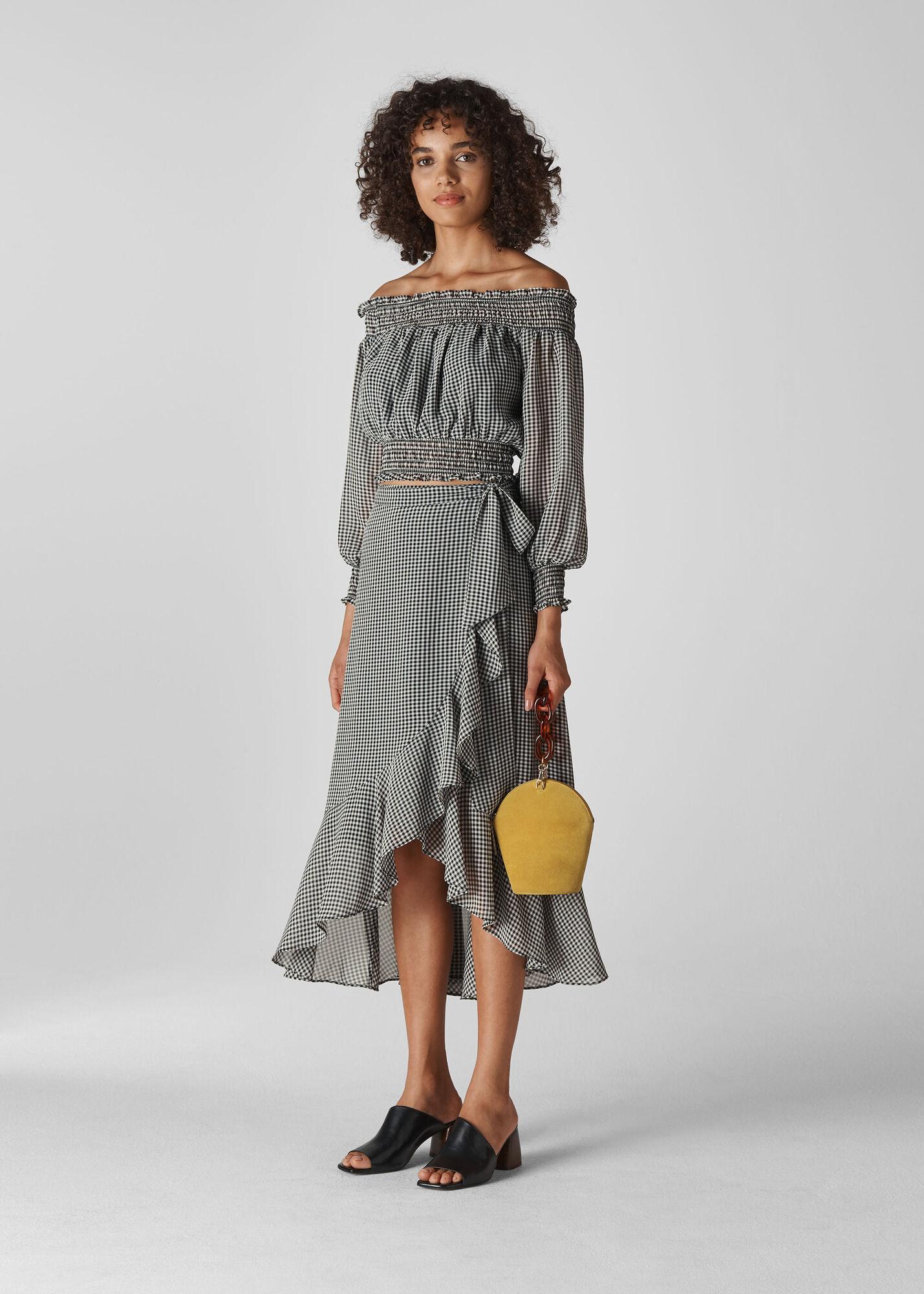 Gingham Wrap Midi Skirt