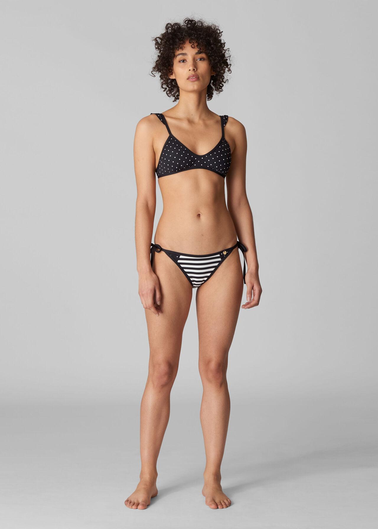 Santiago Spot Bikini Top Black and White